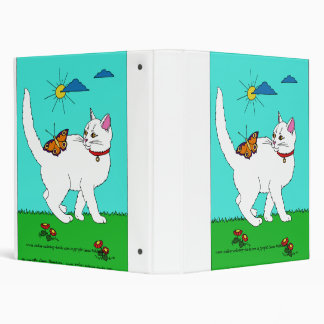 White Kitty and Butterfly 3 Ring Binder
