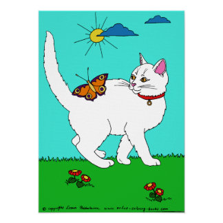 White Kitty and Butterfly Poster