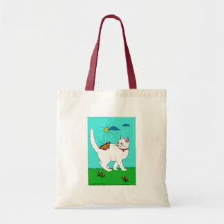 White Kitty and Butterfly Tote Bag