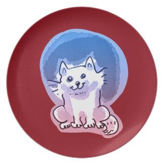 white kitty cartoon style illustration dinner plate