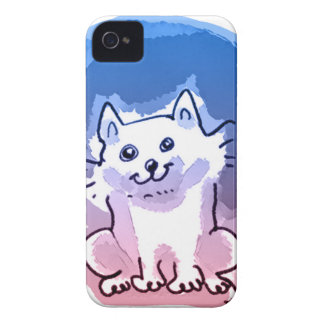 white kitty cartoon style illustration iPhone 4 cover