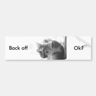 White Kitty Cat/Black & White Photo Bumper Sticker