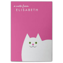 White Kitty Cat Pink Post-it Notes