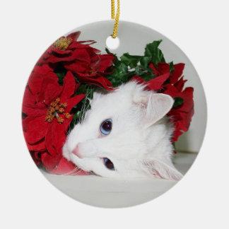 White kitty Christmas Ceramic Ornament