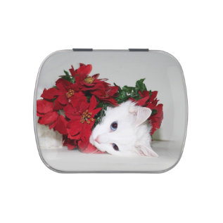 White Kitty Christmas Jelly Belly Candy Tin at Zazzle