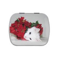 White kitty Christmas Jelly Belly Tin
