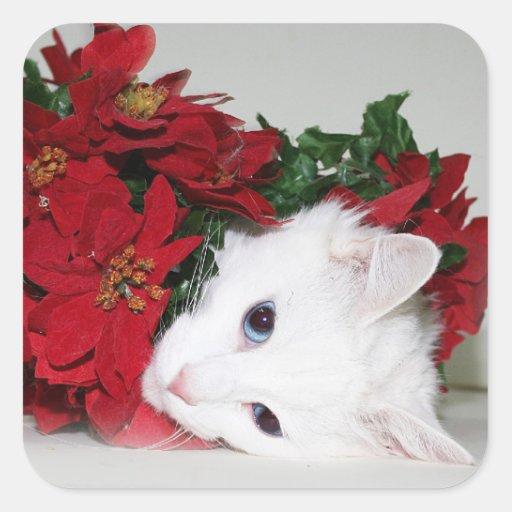 White kitty Christmas Square Stickers