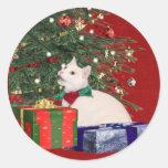 white kitty Christmas Stickers