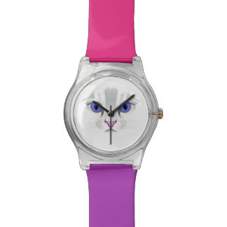 White Kitty Cute Cat Face Watch