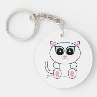 White Kitty Keychain