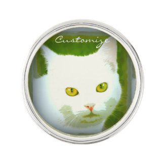 white kitty lapel pin