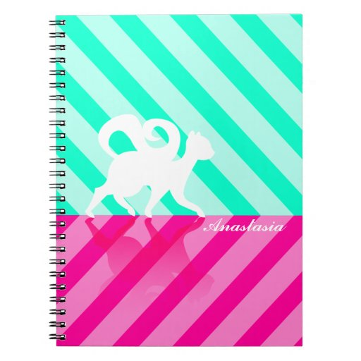White Kitty on Pink and Green Stripes - Custom Notebook