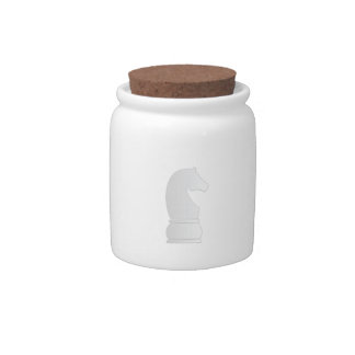 White knight chess piece candy dish