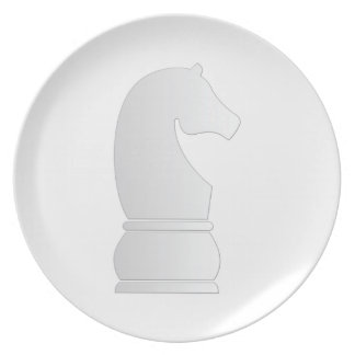 White Knight Chess piece Dinner Plate