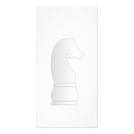 White knight chess piece custom photo card