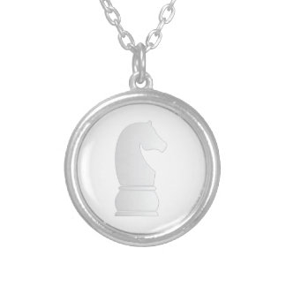 White knight chess piece silver plated necklace