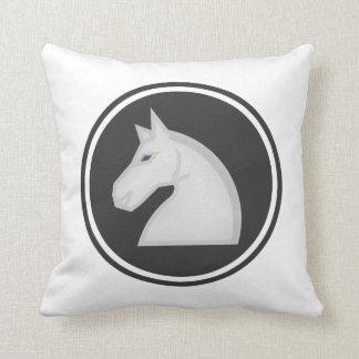 White Knight Horse Chess Piece Throw Pillow