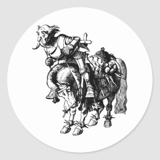 White Knight Tumbling Off His Horse Inked Black Classic Round Sticker