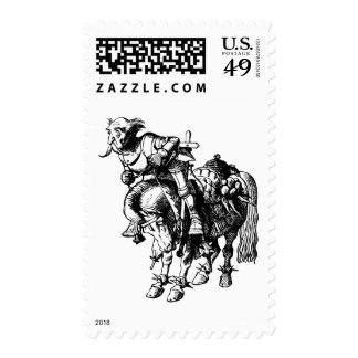 White Knight Tumbling Off His Horse Inked Black Stamps