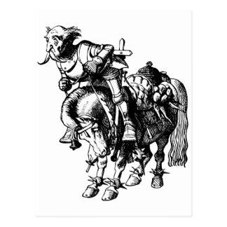 White Knight Tumbling Off His Horse Inked Black Postcard