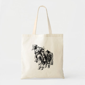 White Knight Tumbling Off His Horse Inked Black Tote Bag