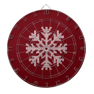 White Knit Snowflake in Holiday Burgundy Red Wine Dart Board