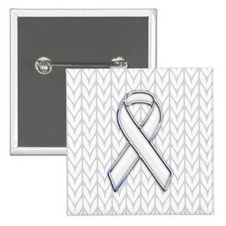 White Knit Style Ribbon Awareness Print Pinback Button