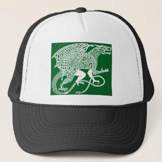 White Knotwork Dragon on Green Trucker Hat