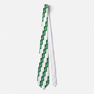 White Knotwork Oak Leaf on Green Tie