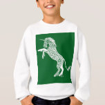 White Knotwork Unicorn on Green Sweatshirt