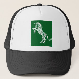 White Knotwork Unicorn on Green Trucker Hat