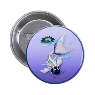 White Koi-Blue Lily  Buttons