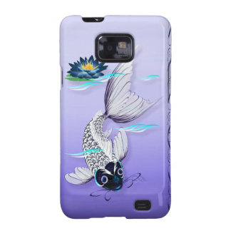 White Koi-Blue Lily iPhone Galaxy S2 Cases