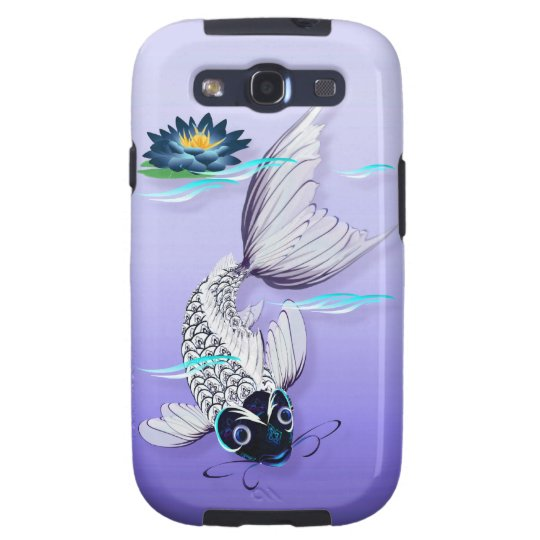 White Koi-Blue Lily iPhone Samsung Galaxy SIII Cover