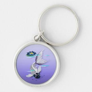 White Koi-Blue Lily  Keychains