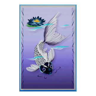 White Koi-Blue Lily Large Poster