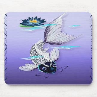 White Koi-Blue Lily Mousepad