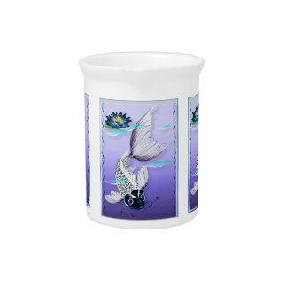 White Koi-Blue Lily  Pitcher