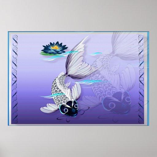 White Koi-Blue Lily Poster
