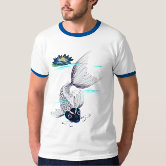 White Koi-Blue Lily  T-Shirts