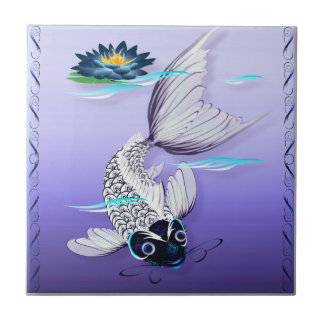 White Koi-Blue Lily Tile