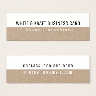 white & kraft elegant professional mini business card