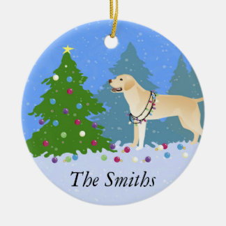 White Lab in the Forest Decorating Christmas Tree Ceramic Ornament