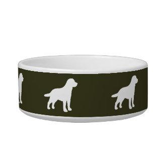 White Labrador Dog Silhouettes on Moss Green Bowl