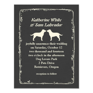 White Labrador Retriever Silhouettes Wedding Card