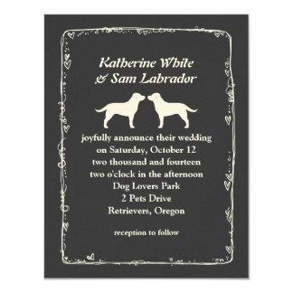 "White Labrador Retriever Silhouettes Wedding 4.25"" X 5.5"" Invitation Card"