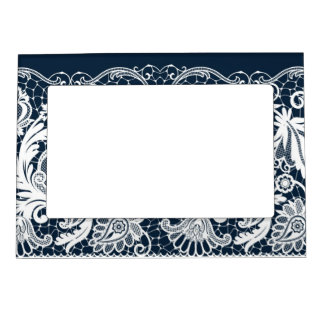 White lace 2 magnetic photo frame