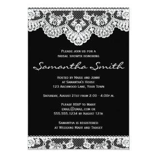 White Lace and Black Bridal Shower Invite