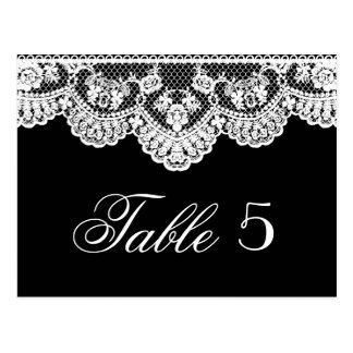 White Lace and Black Wedding Table Number Postcard