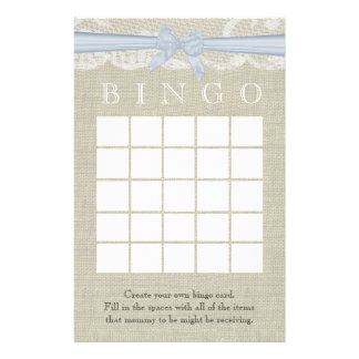 White Lace and Bow Shower Bingo Stationery